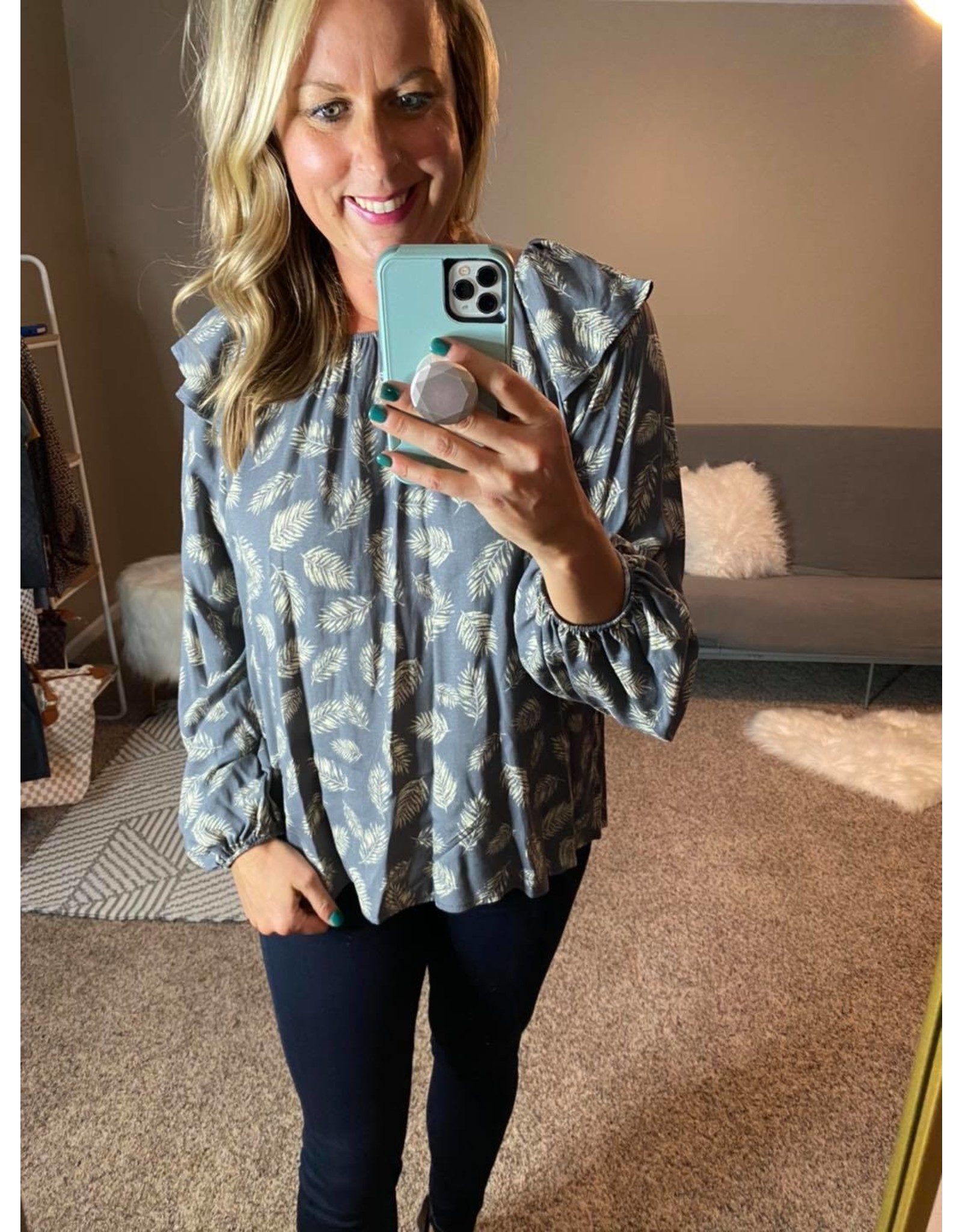 Vision Feather print ruffle on/off shouder blouse grey