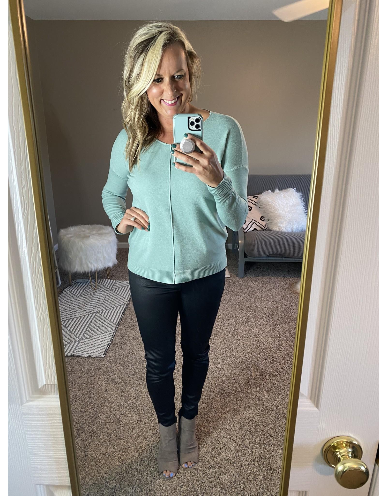 Zenana V neck front seam sweater light blue  or olive