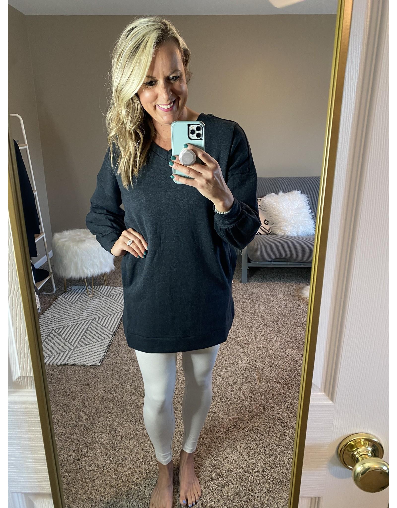 Zenana Oversized v neck sweatshirt charcoal