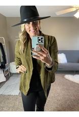 Kori America Drape collar faux suede cropped jacket