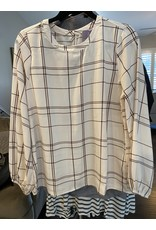 Andre by Unit Plaid printed blouse mocha
