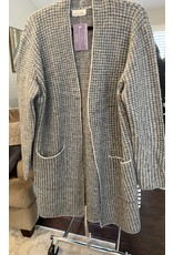 Be Cool Check knit sweater coat charcoal