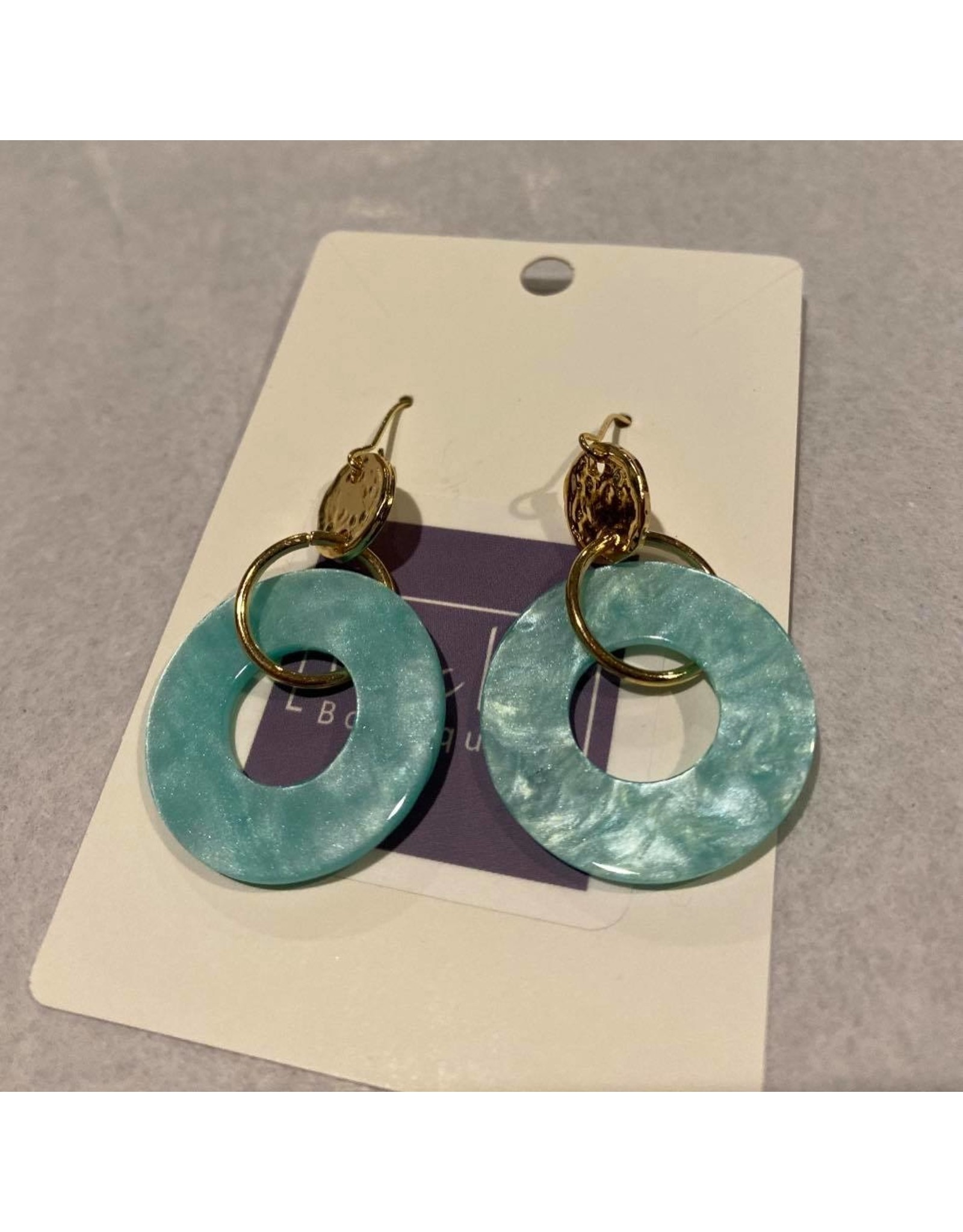 What's Hot Acrylic and gold circle earrings pink or mint