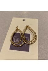 What's Hot Layered white seed bead and gold earrings