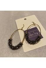What's Hot Gold oval crystal earrings black or gray