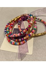 What's Hot Multi and gold set of 5 stretch bracelets