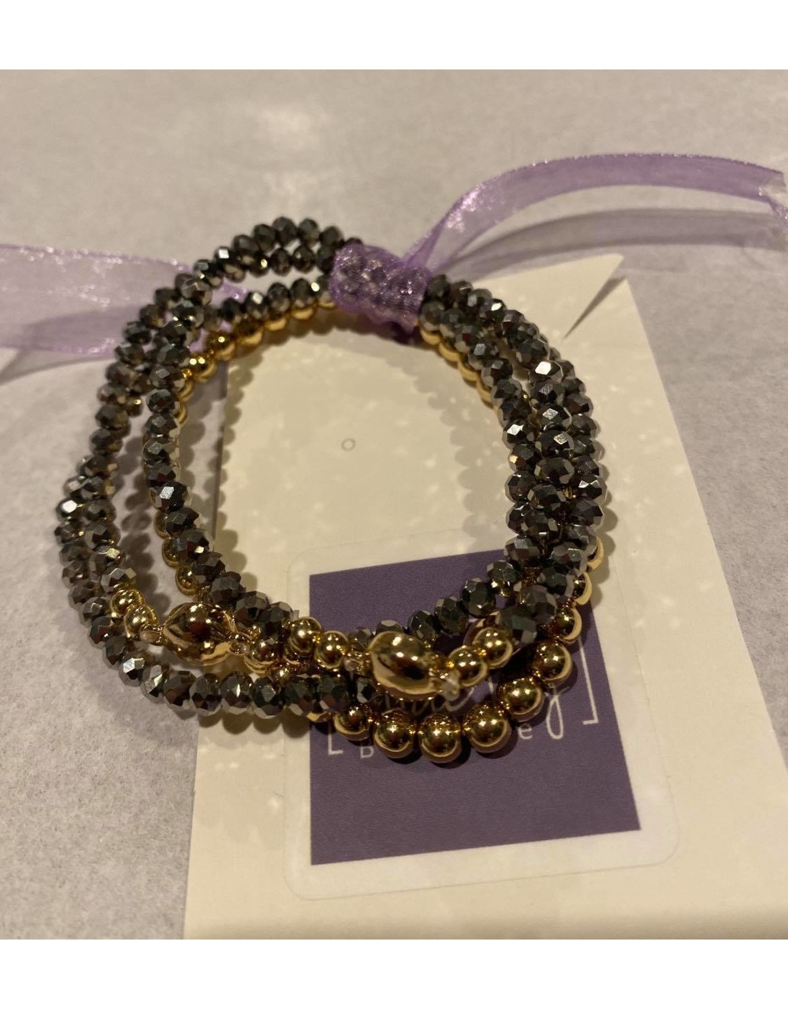 What's Hot Crystal and gold beaded stretch bracelets - maroon, multi or gray