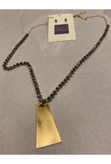 What's Hot Gray crystal and gold pendant