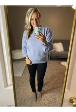 Andre by Unit Sweater with pom pom detail dusty blue (periwinkle)