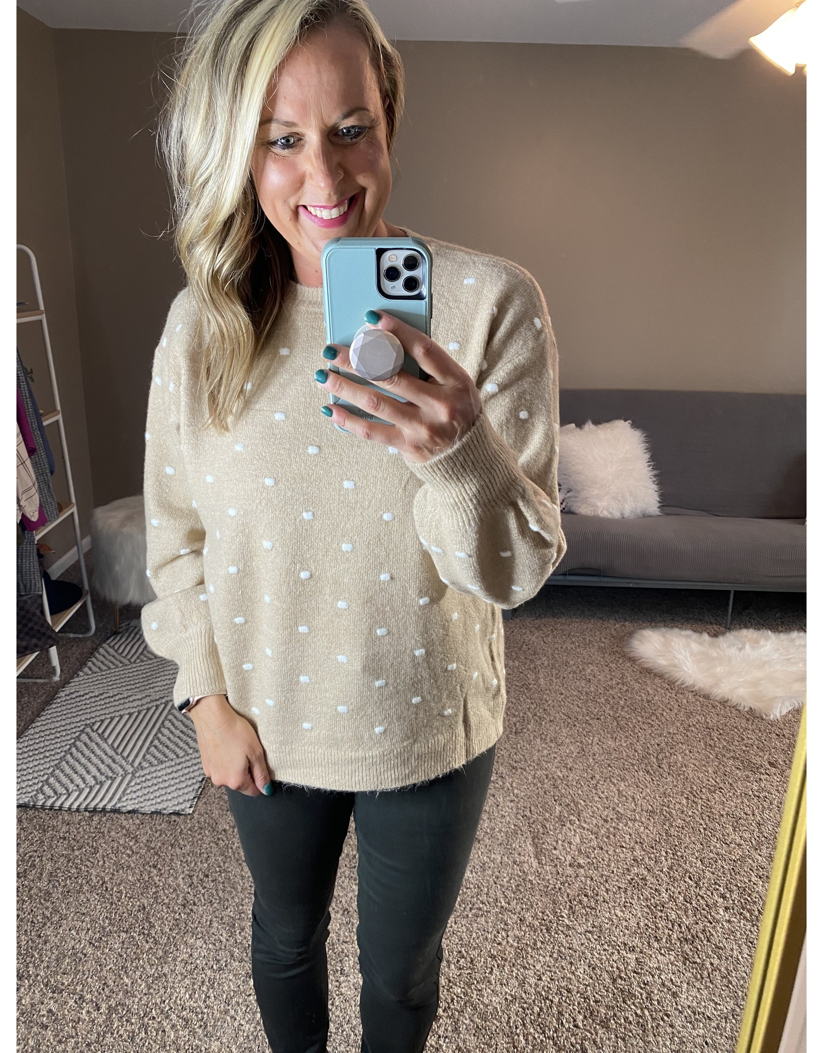Be Cool Polka dot pull over sweater
