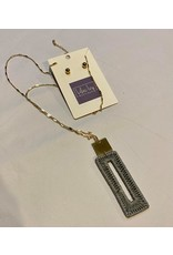 Gray fabric wrapped rectangle gold necklace