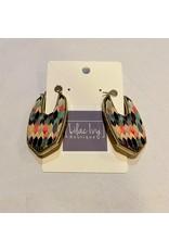 What's Hot Multi color painted wood earrrings