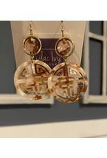 What's Hot Brown filigree acrylic earrings