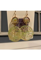 What's Hot Mint acrylic and gold filigree earrings