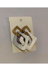 What's Hot Hammered gold and silver geometric square earrings