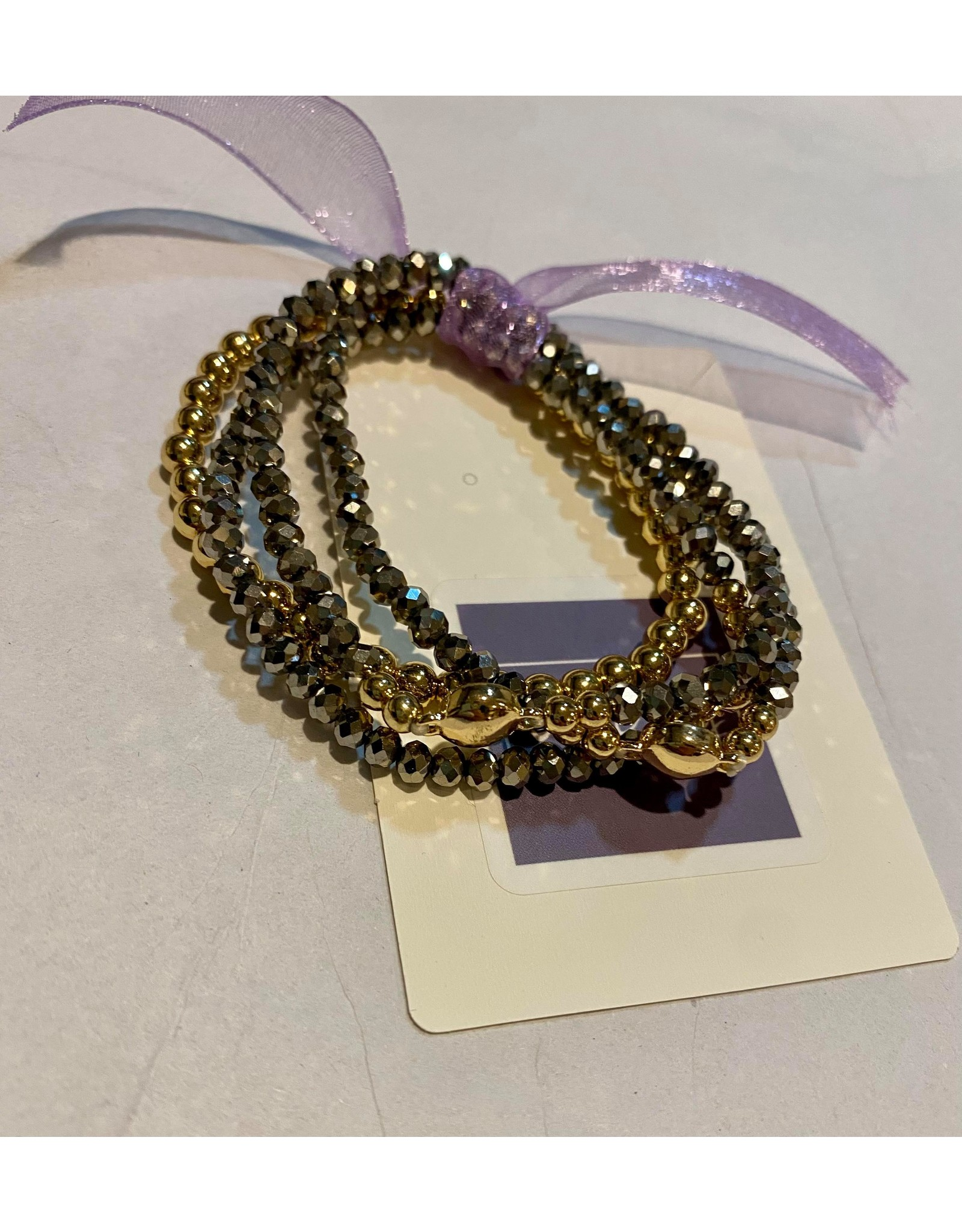 What's Hot Hematite crystal three strand with gold ball beaded stretch bracelet