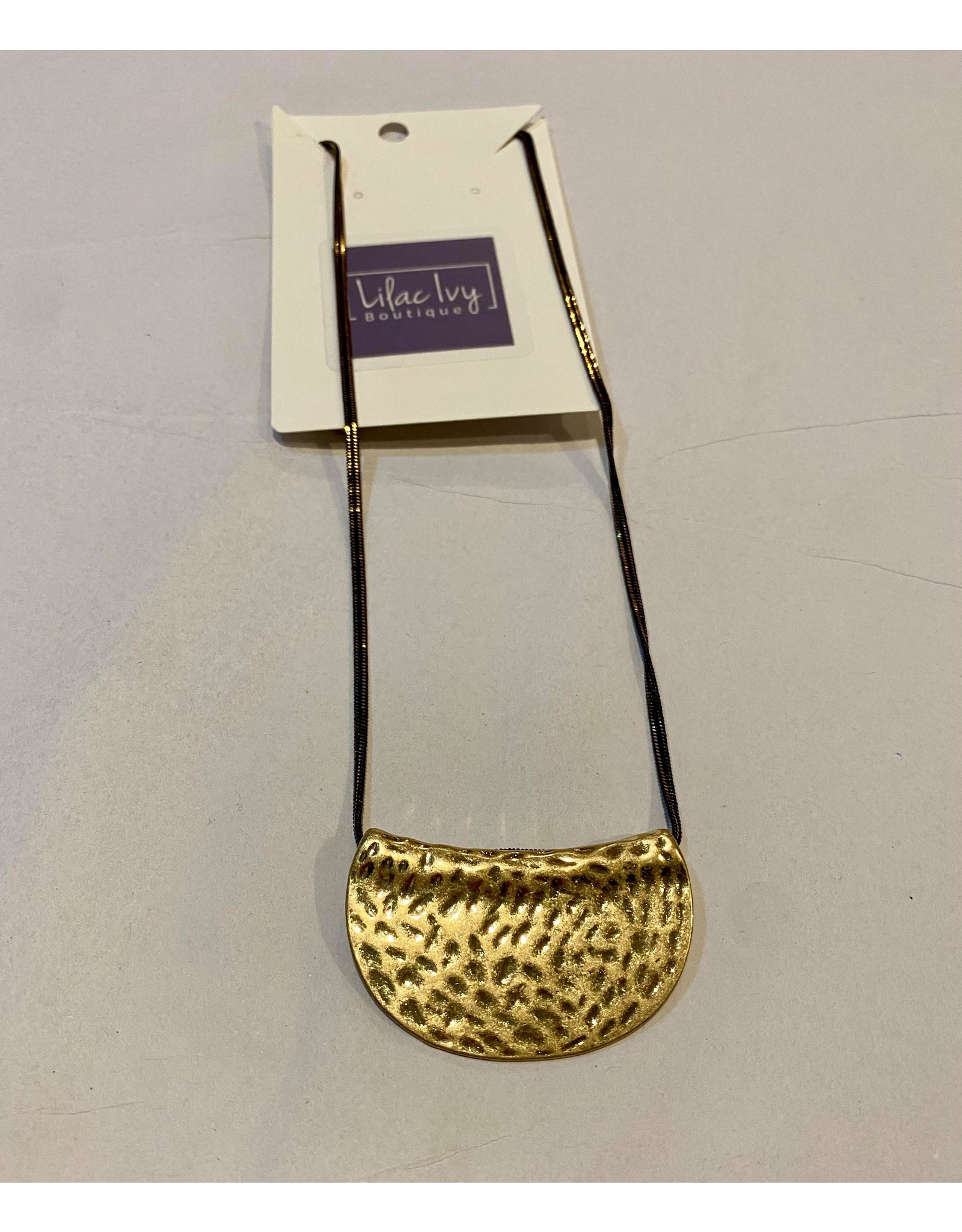What's Hot Brown liquid chain necklace with gold half moon