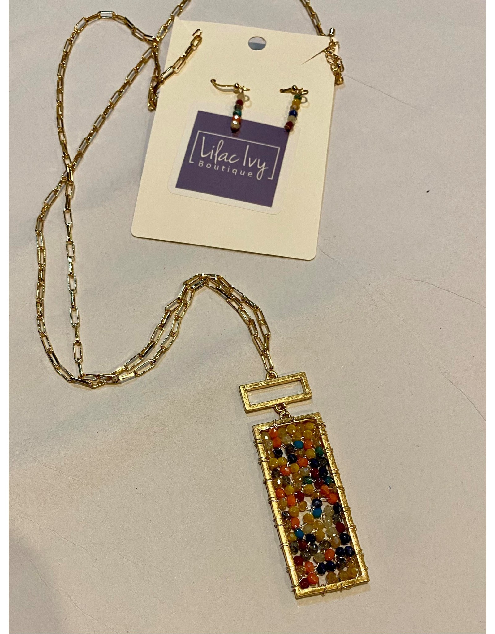 What's Hot Multi rectangle crustal on gold chain necklace