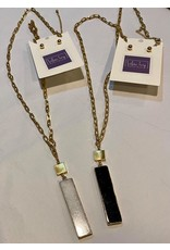 What's Hot Gold chain with black rectangle stone necklace