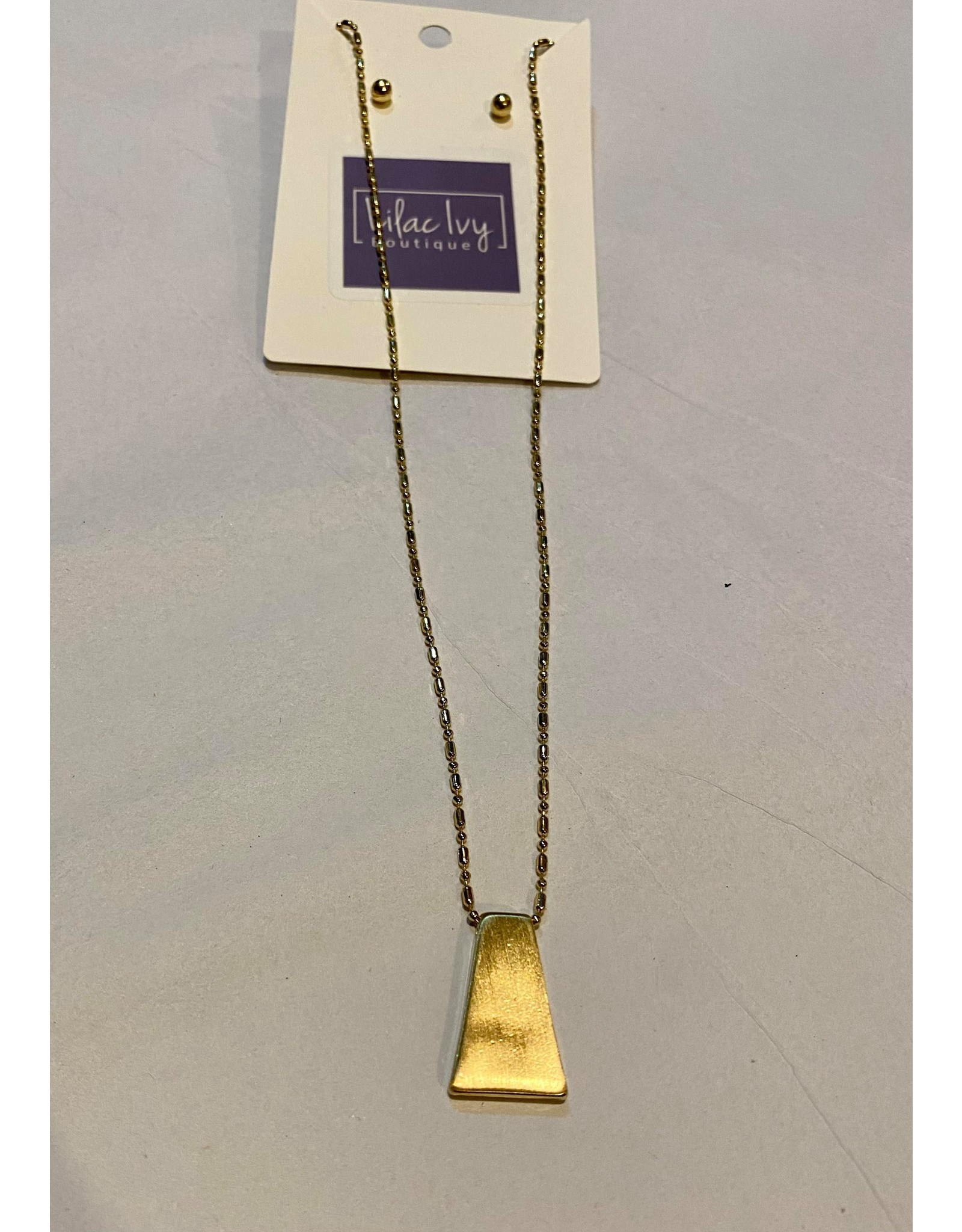 What's Hot Gold geometric retangle necklace