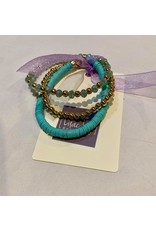 What's Hot Teal, crystal and gold beaded set of stretch bracelets 3