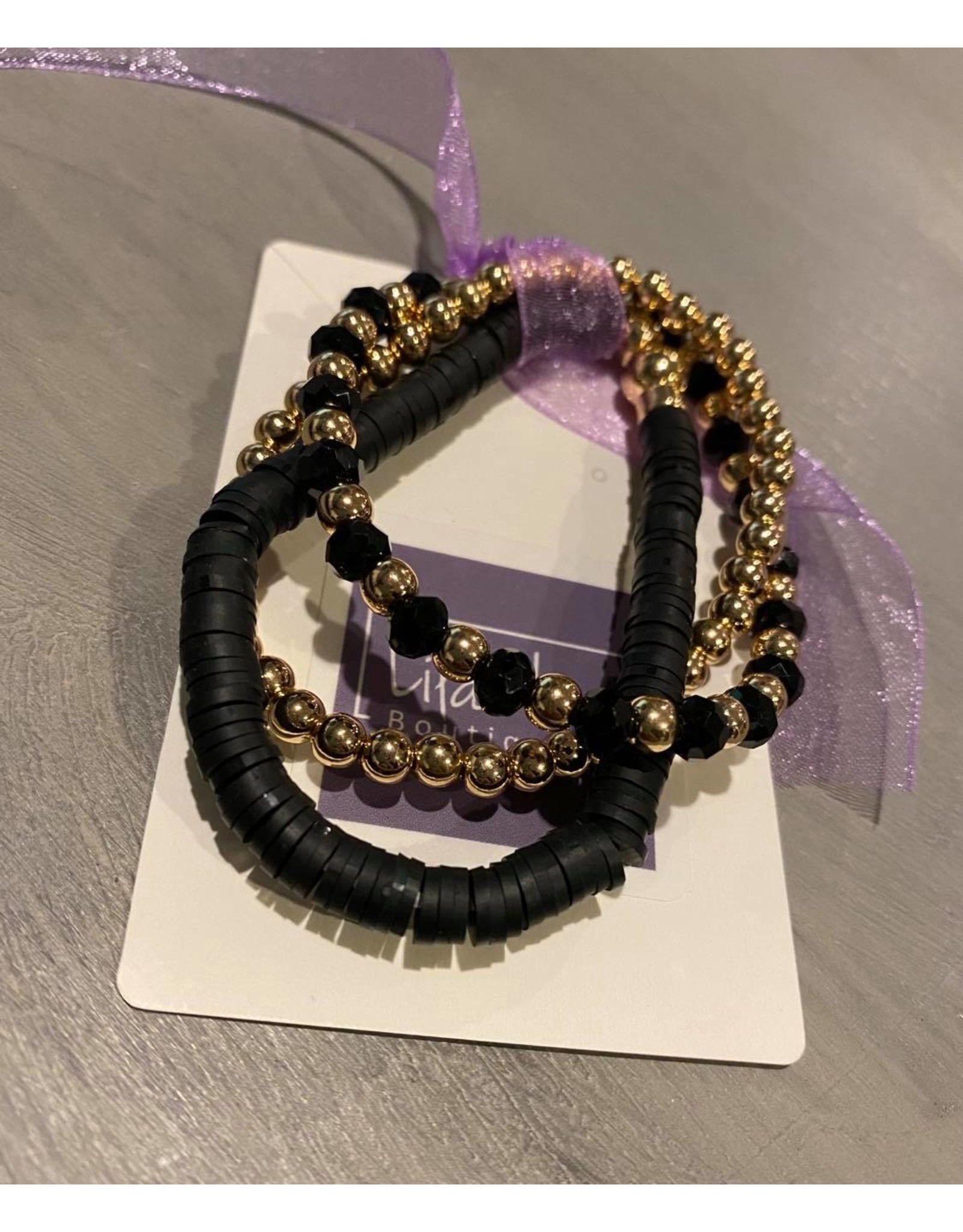 What's Hot Black , crystal and gold beaded stretch bracelet 3