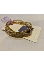 What's Hot Crystal and gold stretch bracelets with crystal bar