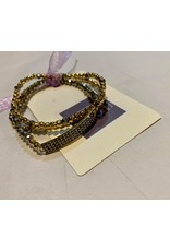 What's Hot Hematite crystal and gold stretch bracelet with crystal bar