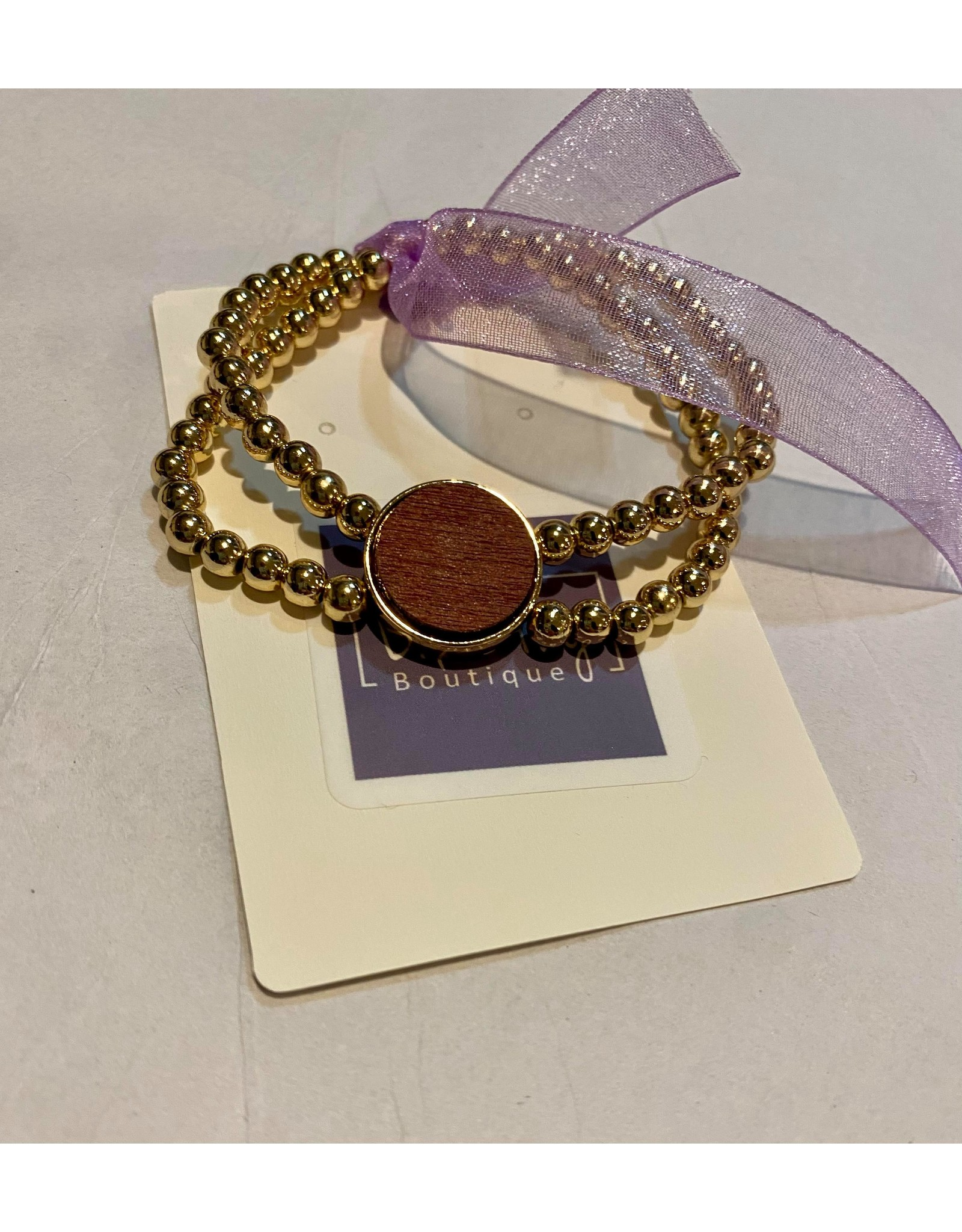What's Hot Gold beaded with maroon wood circle stretch bracelet