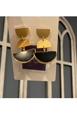 What's Hot Brushed gold and black half moon earrings