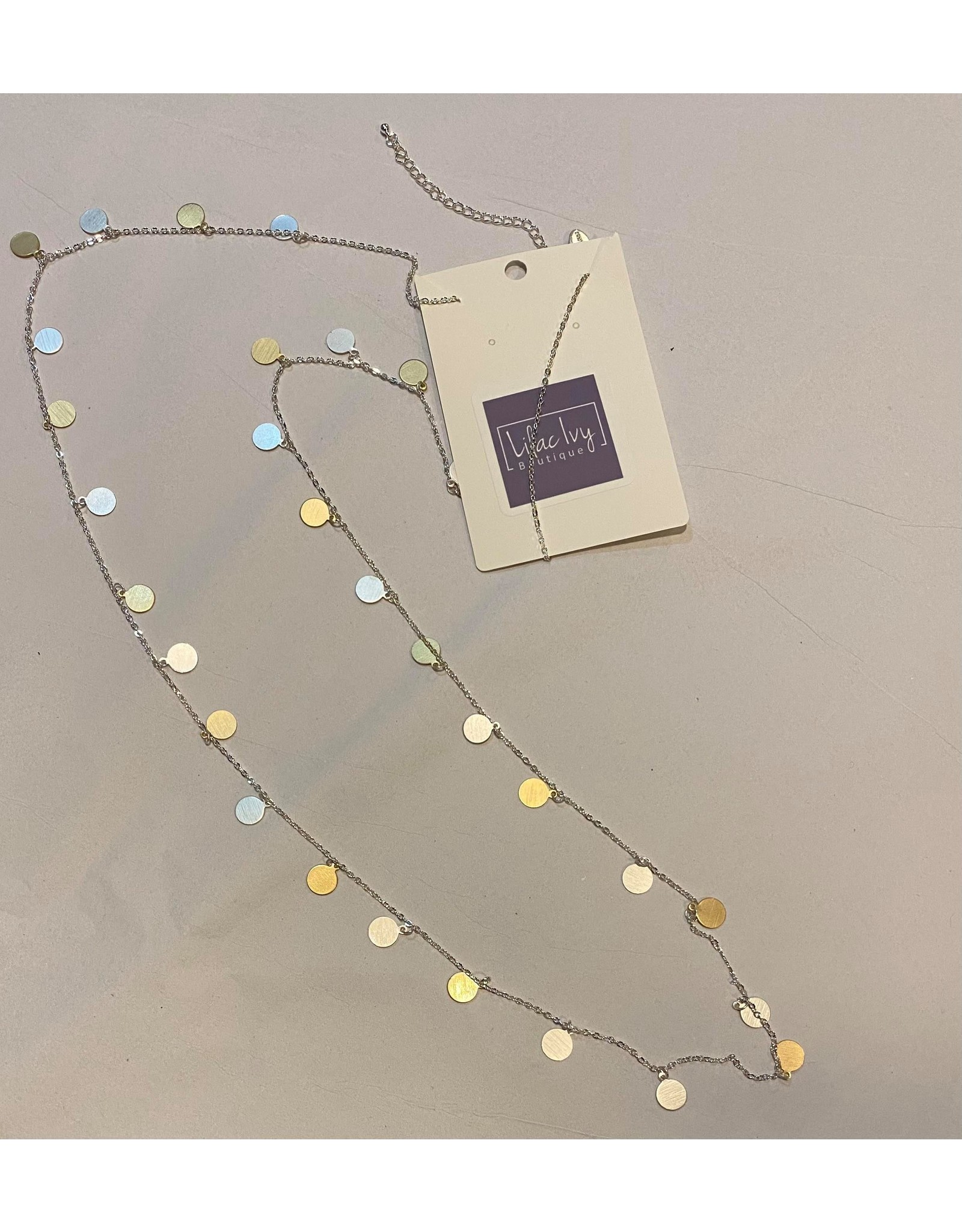 Silver chain with gold disc necklace