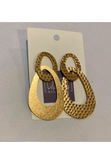 What's Hot Hammered gold geometric oval earrings