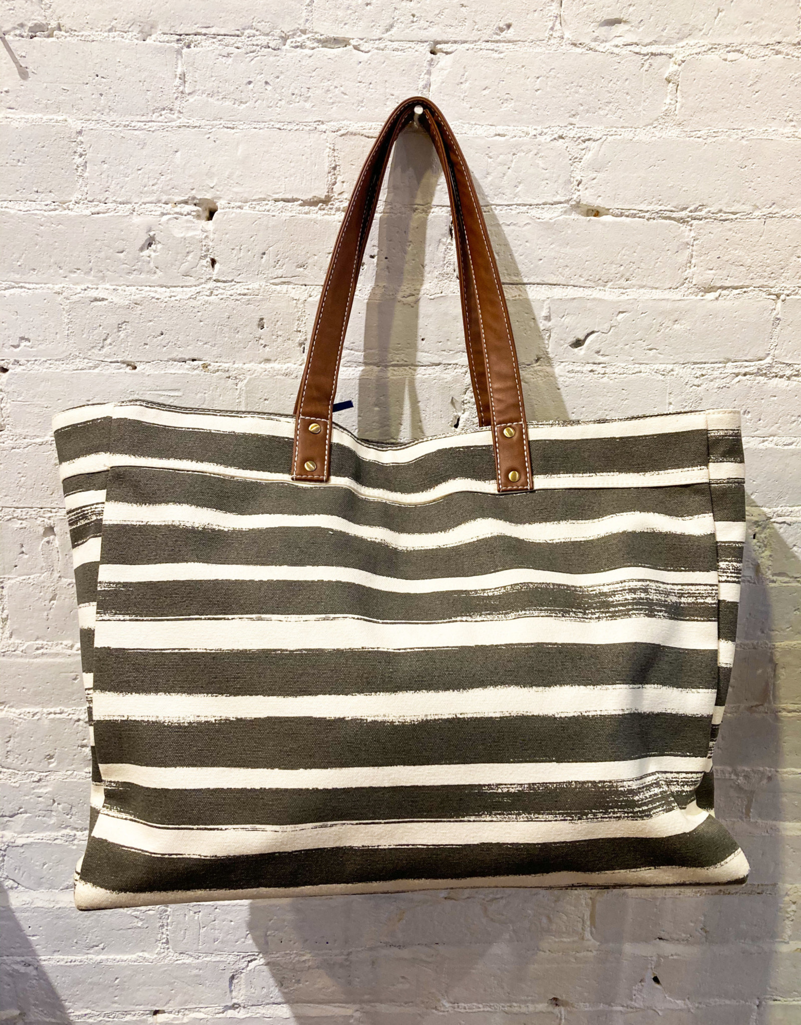 Maika Everyday Tote, Grey Stripe