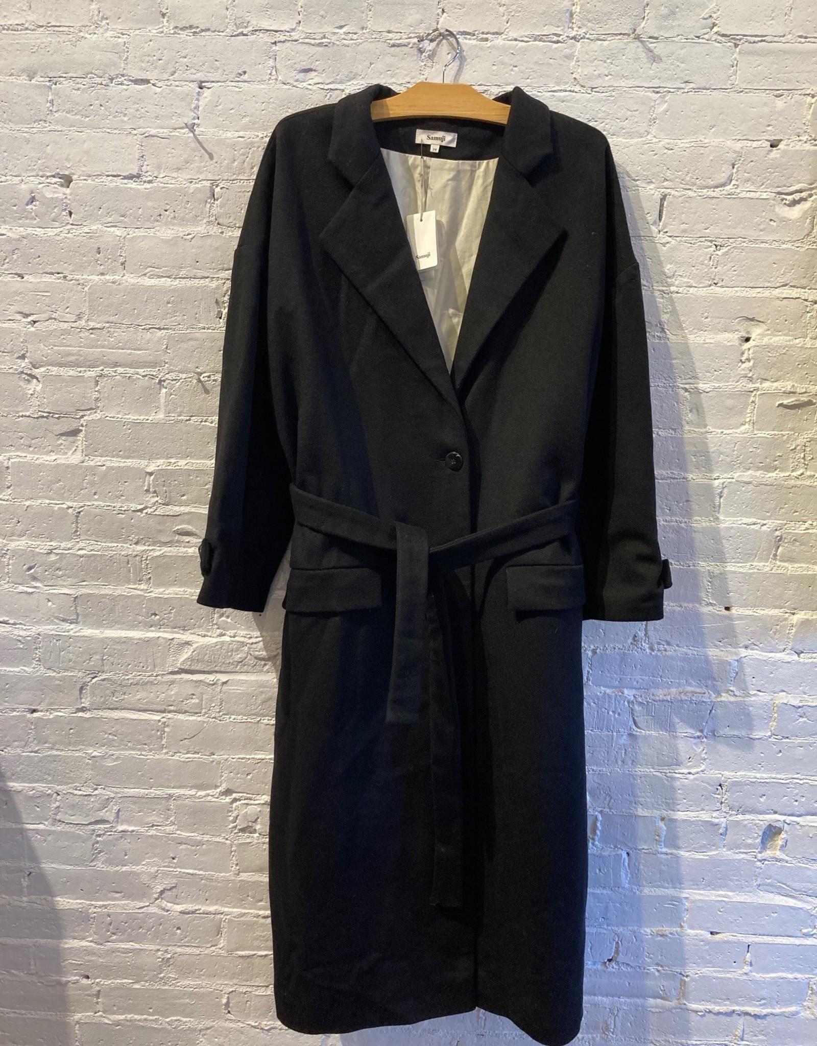 Samuji Samuji: Black Wool Trench Coat