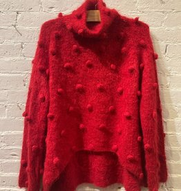 Matthildur Matthildur: Red Turtleneck Sweater with Pom Poms