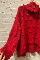 Matthildur Matthildur: Red Turtleneck Sweater with Pom Poms