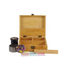 Cali Factory Bamboo – Large Box W/ Glass Jar, Grinder & Rolling Tray