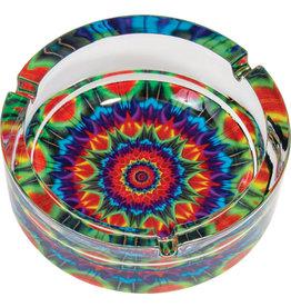 "Glass Kaleidoscope Ashtray - 6.25"""