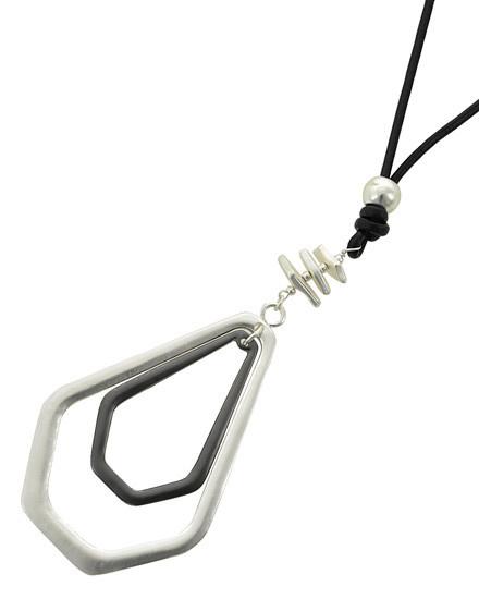 Matte Silver Tone & Hematite Tone / Black Leatherette Cord / Pendant / Pentagon Long Necklace