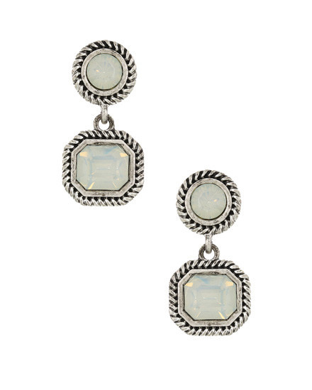 EARRING SET - BURNISHED SILVER/L. GREY