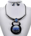 Acrylic / Glass /  Metal / Statement / Post (earrings) / Statement / Hematite Tone / Blue / Necklace & Earring Set