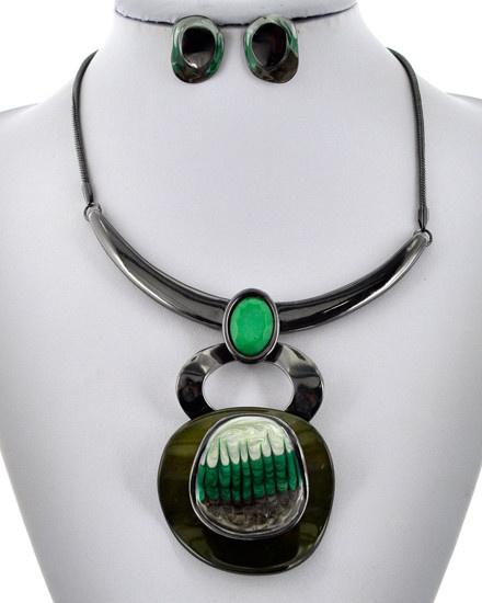 Statement / Hematite Tone / Green / Necklace & Earring Set