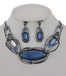 Hematite Tone / Blue Acrylic / Statement / Necklace & Earring Set