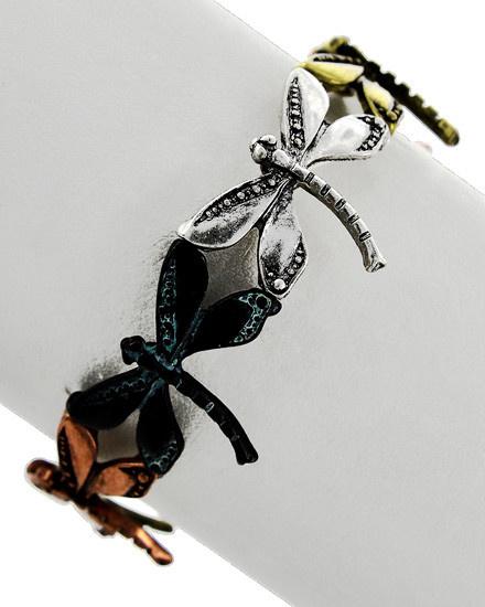 Multi Tone / Metal / Bug / Dragonfly / Adjustable / Stretch / Bracelet