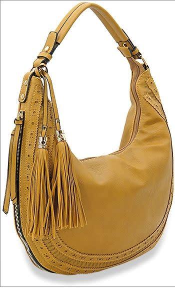 Tassel Accented Hobo Handbag