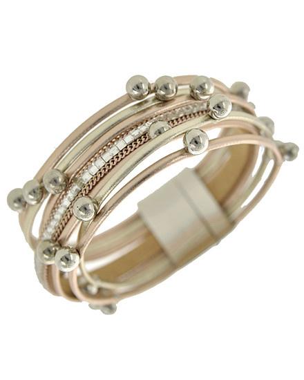 Rhodiumized / Bronze Leatherette / Multi Strand / Bracelet
