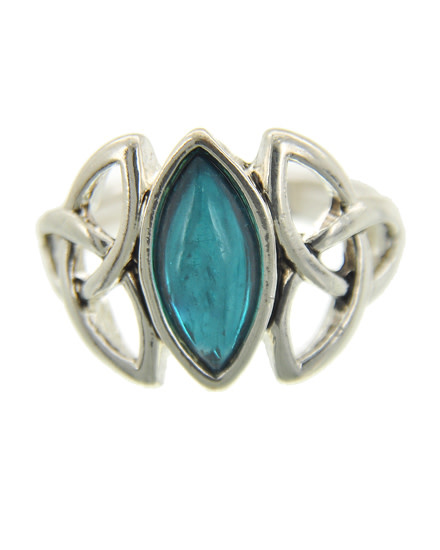 Antique Silver Tone / Teal Acrylic / Metal / Stretch / Ring