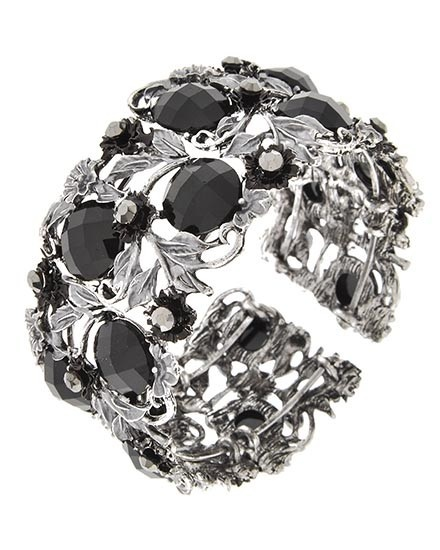 Burnished Silver Tone / Black Acrylic Cuff Flower Bracelet