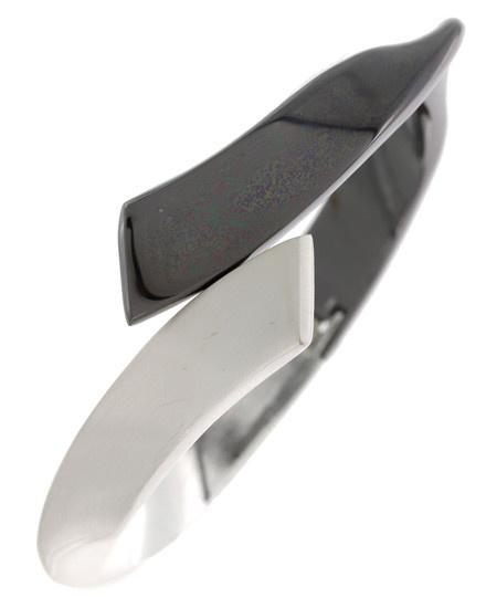 Cuff / Matte Silver Tone / Black / Bracelet