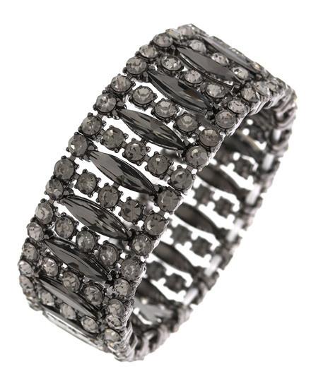 Metal / Glass / Rhinestone / Adjustable / Stretch / Black / Bracelet